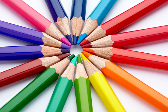 close up  of color pencils on white background with clipping path